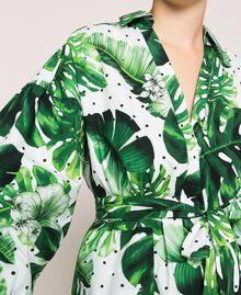 Платье-рубашка из набивного поплина Принт Тропический Горошек Зеленый женщина 201TP2551-04
