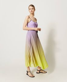 """Pleated dress with fadeout print """"Sweet Lilac"""" Purple Fadeout Multicolour Woman 211LL2MLL-01"""