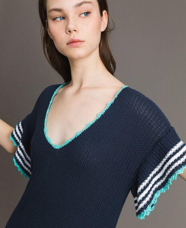 Robe longue ajourée à rayures Multicolore Rayures Bleu Nuit Femme 191MT3082-04