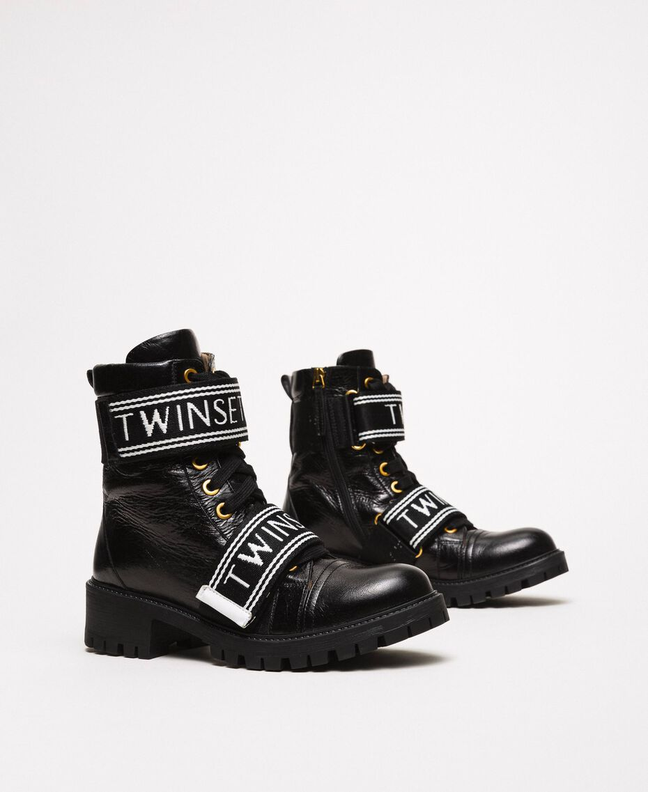Leather combat boots with logo Black Woman 201TCP132-01
