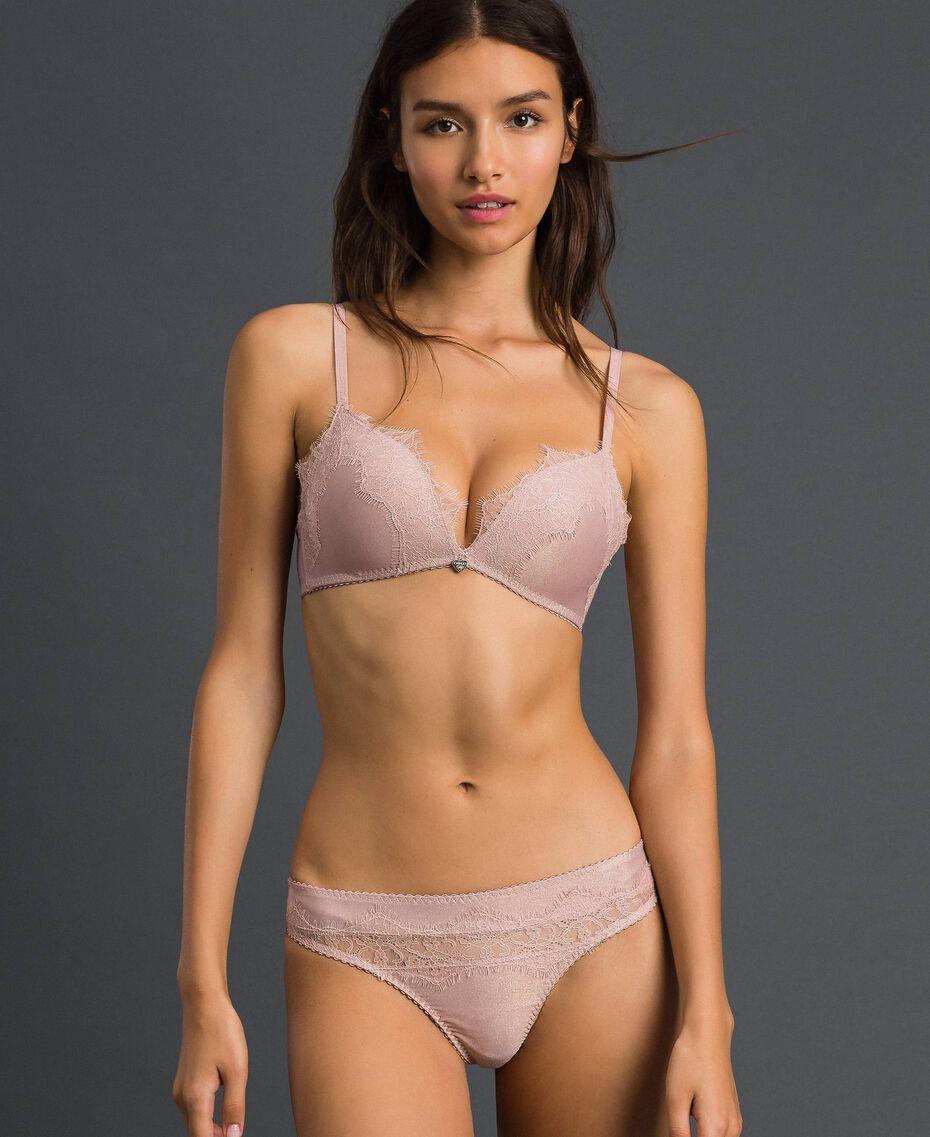"Padded lace triangle bra Light Gold Lurex ""Peach"" Pink Woman 192LL6B22-02"