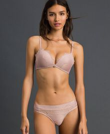 """Lurex G-string with lace inlay Light Gold Lurex """"Peach"""" Pink Woman 192LL6B88-01"""