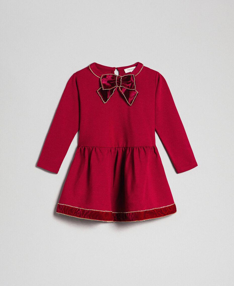 Velvet and rhinestone brooch dress Black Child 192GB2251-01