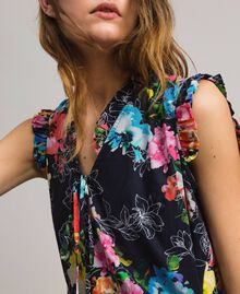 Floral print dress with waistline shirring All Over Black Multicolour Flowers Print Woman 191MT2295-04