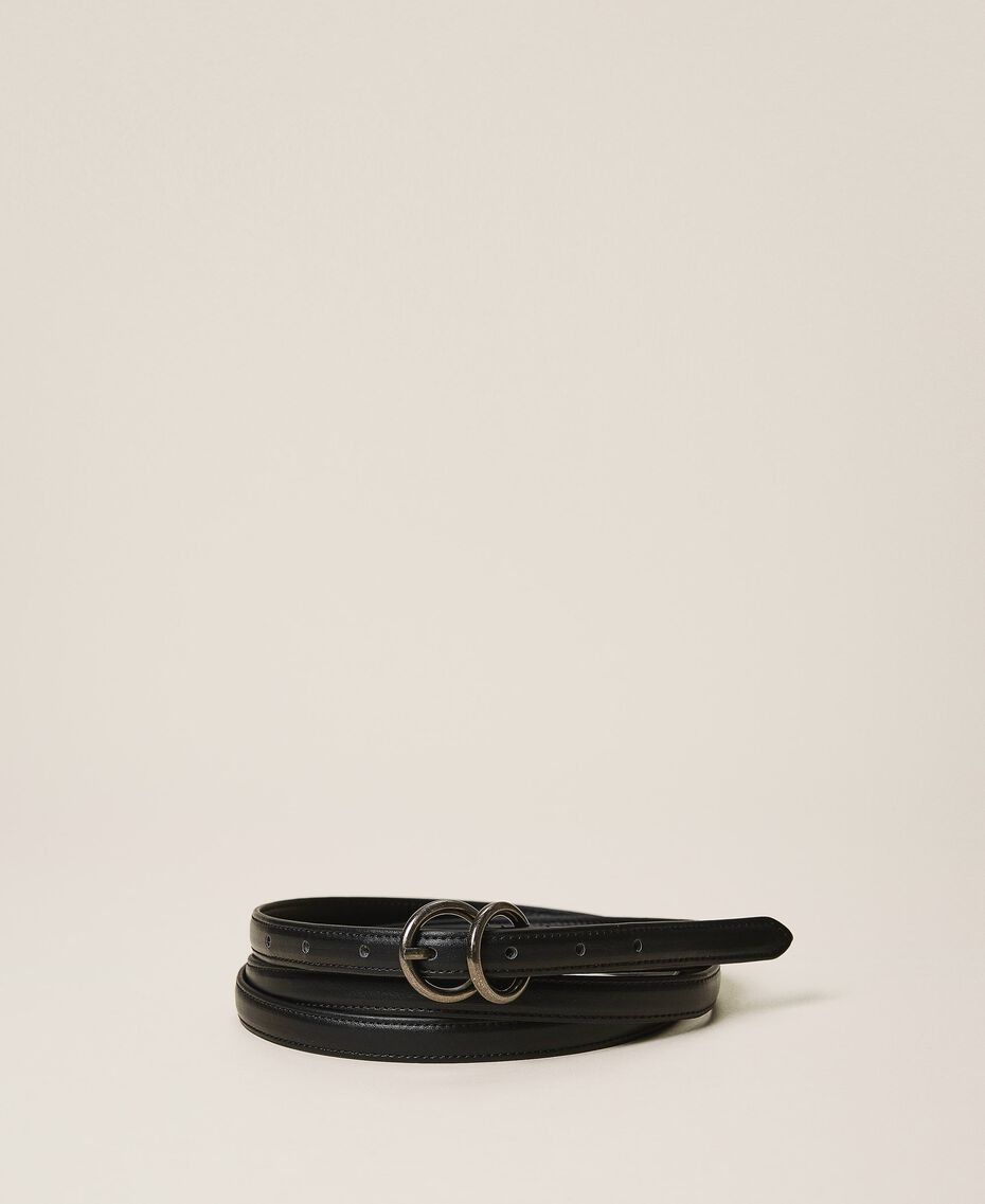 Faux leather belt Black Woman 202MA4353-02