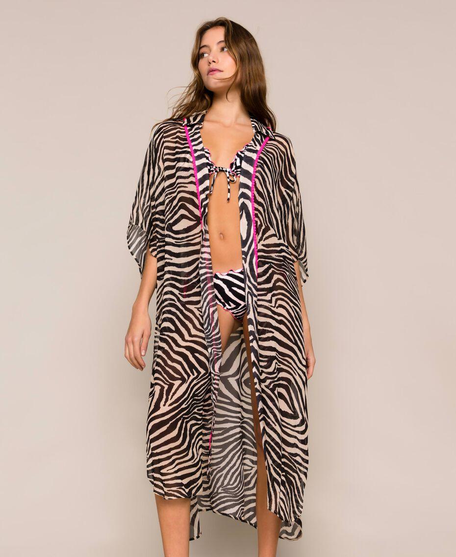 Animal print georgette kaftan Black Zebra Print Woman 201LB2GFF-02