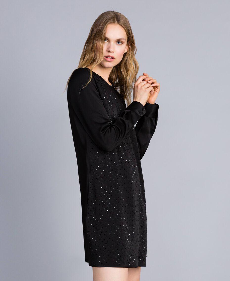 Kleid aus Envers-Satin mit Strass Schwarz Frau TA824N-02