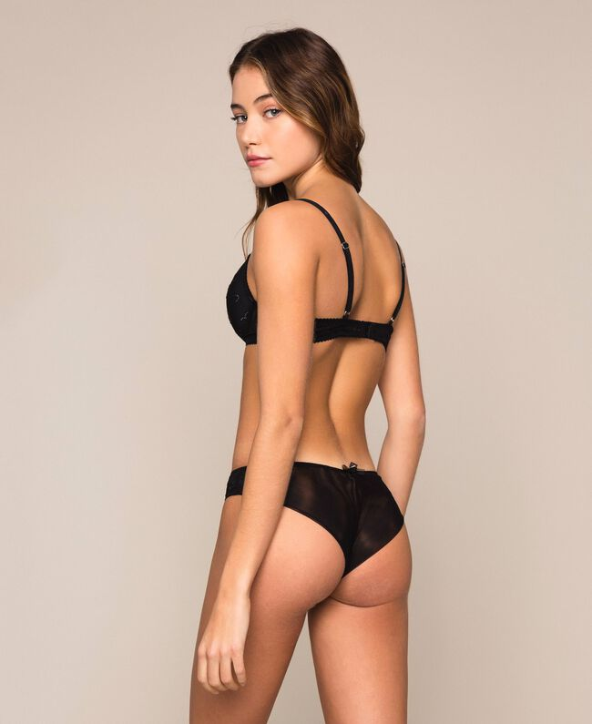 Tulle Brazilian briefs with hearts Black Woman 201LL6377-03