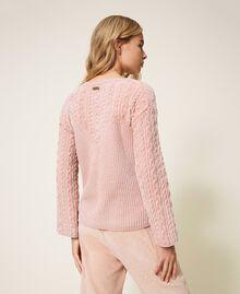 Pull en chenille avec torsades Rose «Pêche Poudré» Femme 202LL3GSS-04