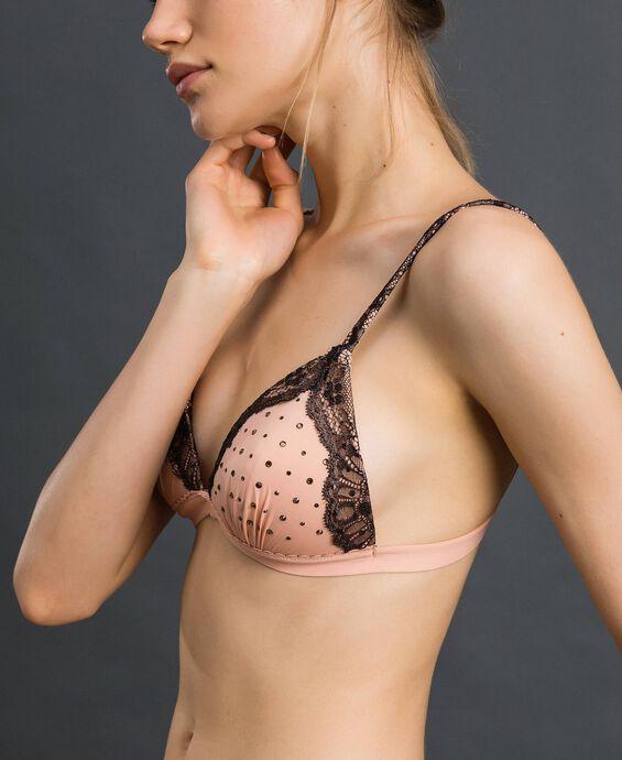 Padded triangle bra with rhinestones