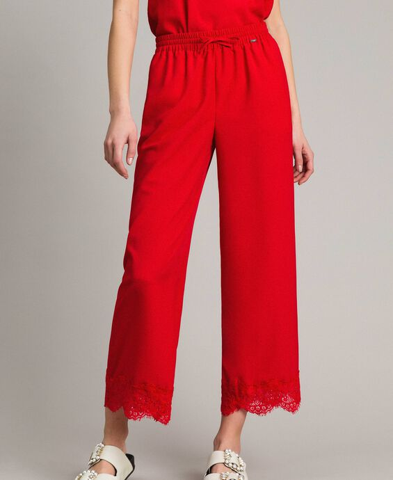 Crêpe de Chine trousers with lace