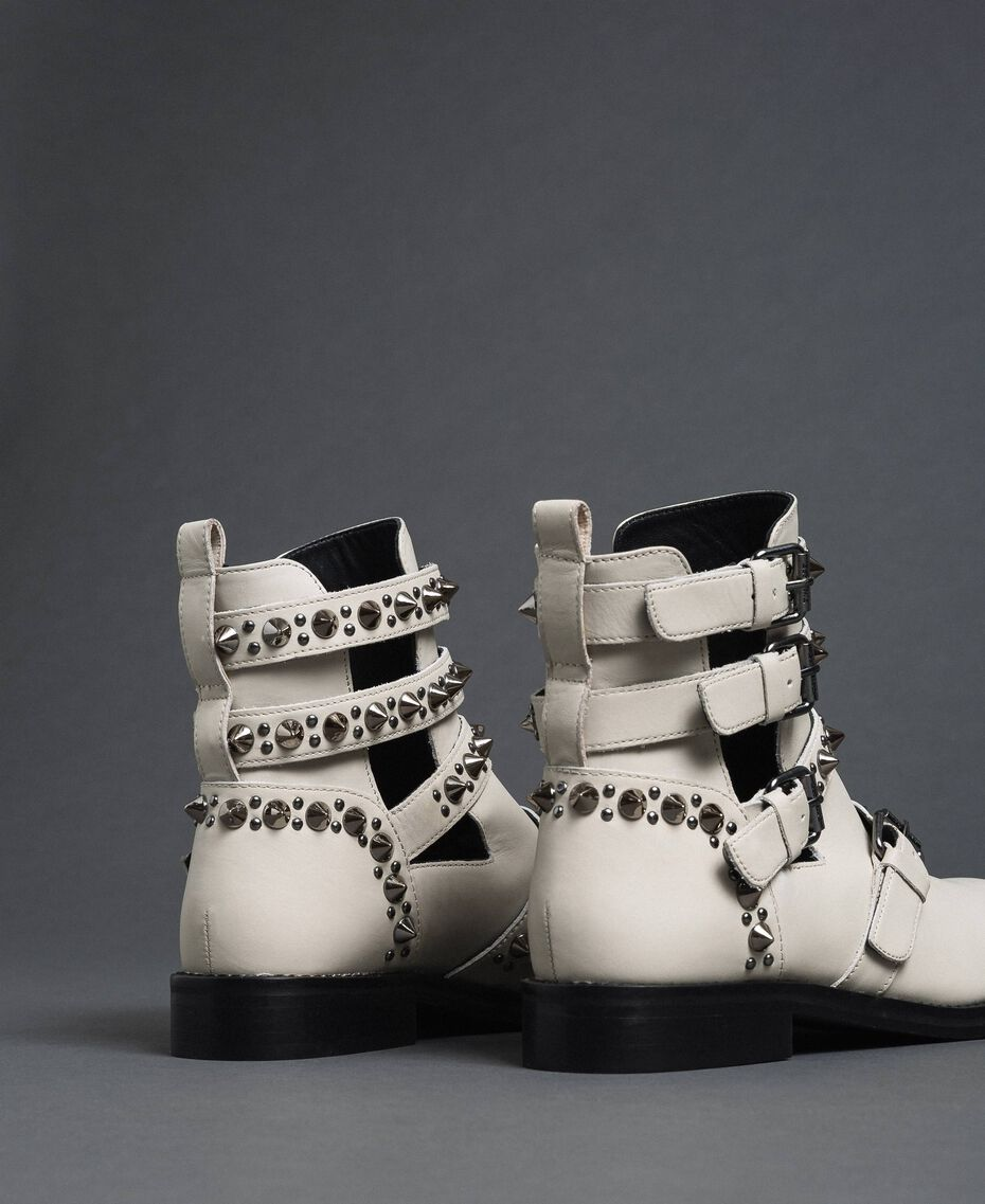 Leather biker boots with straps and studs White Snow Woman 192TCP01U-02