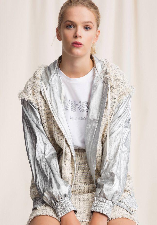 Laminated bomber jacket with bouclé fabric