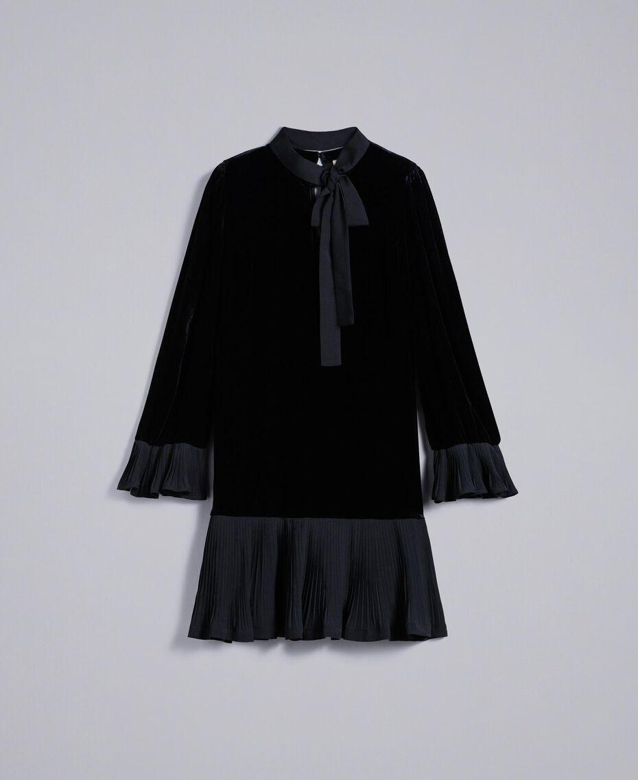 Robe en velours avec plissé Noir Femme TA828P-0S