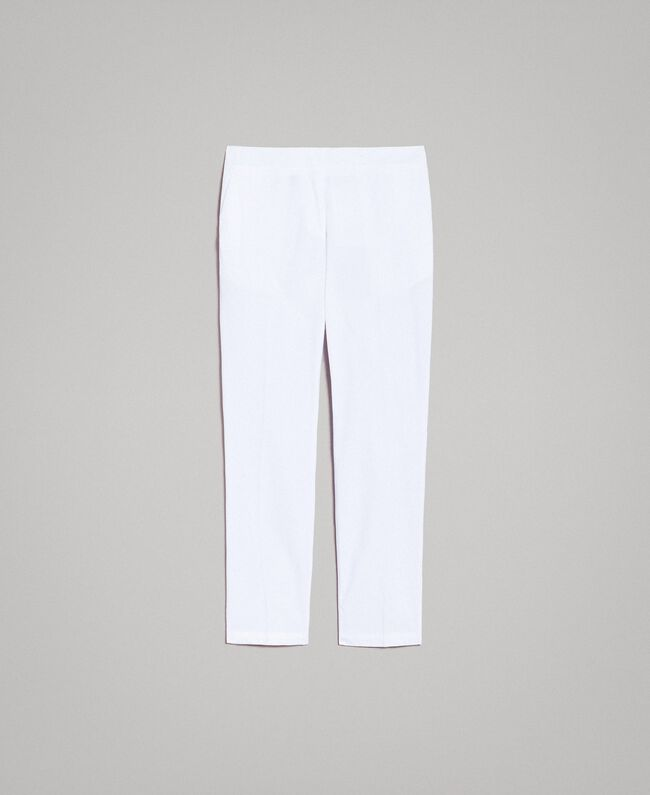 Poplin drainpipe trousers White Woman 191TT2231-0S