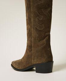Stivali texani in pelle scamosciata Dark Olive Green Donna 202TCP160-05