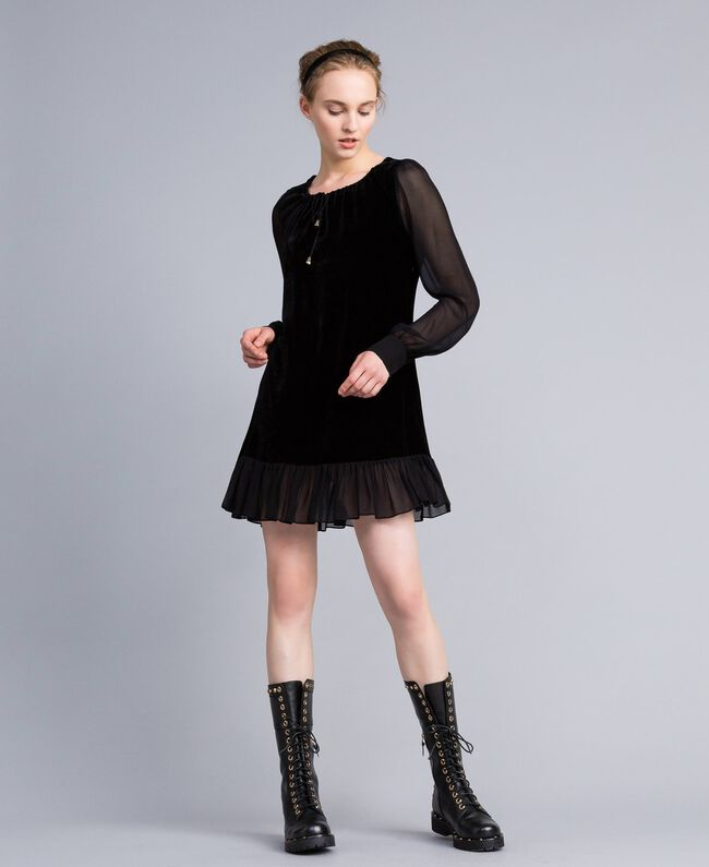 Velvet and georgette dress Black Woman PA823A-03