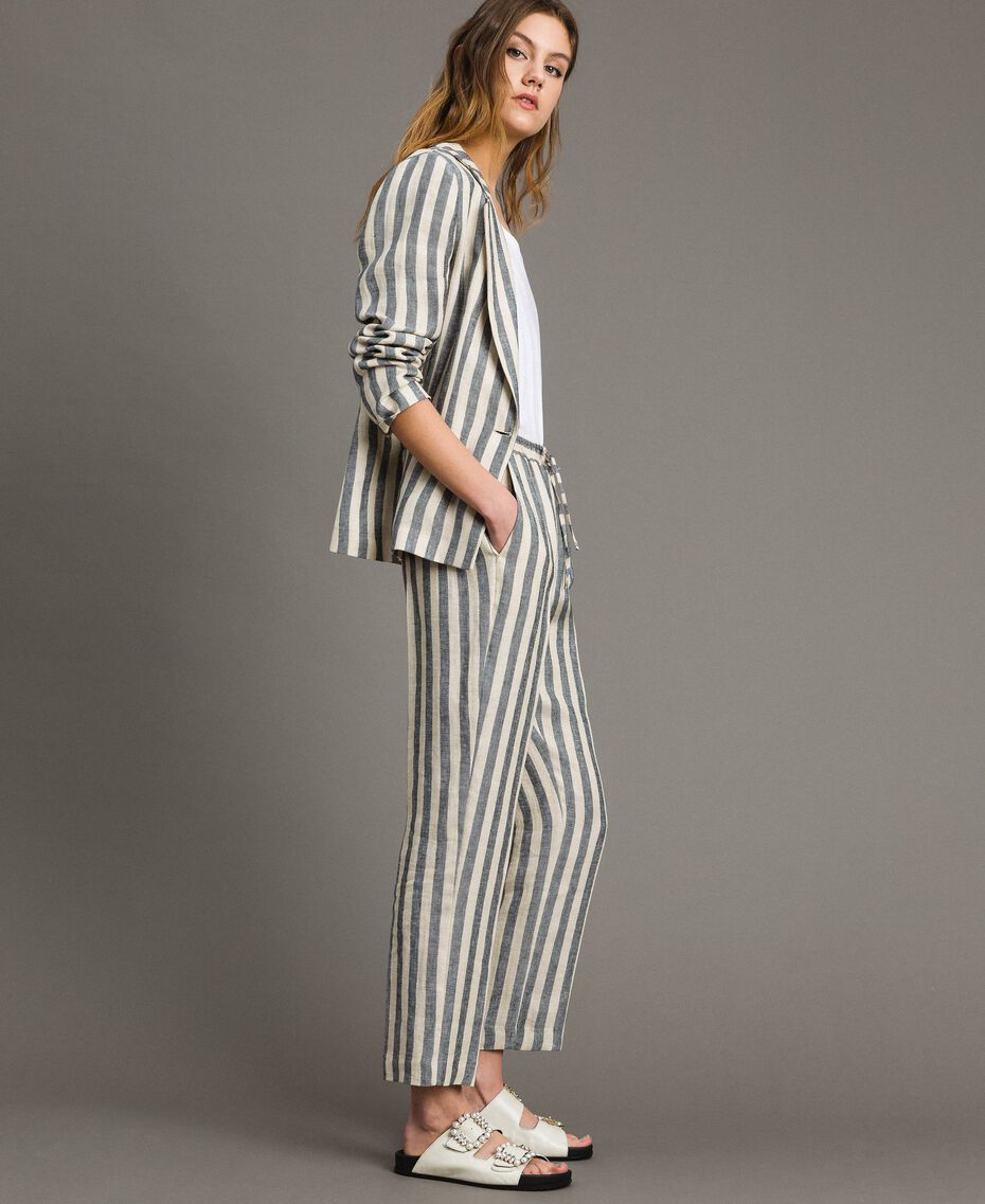"Two-tone striped linen trousers Two-tone Black / ""Marzipan"" Beige Woman 191TT2314-02"