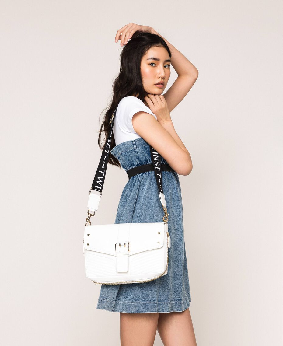 Medium Rebel bag with logo shoulder strap White Snow Woman 201TO823X-0S