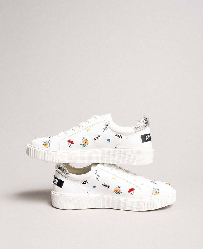 Faux leather sneakers with logo White Cream Woman 191MCP080-01