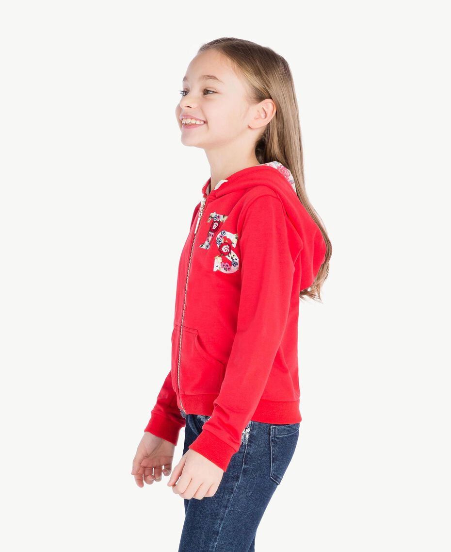 Sweat-shirt logo Bicolore Rouge Grenadier / Fleurs Chantilly Enfant GS82SN-03