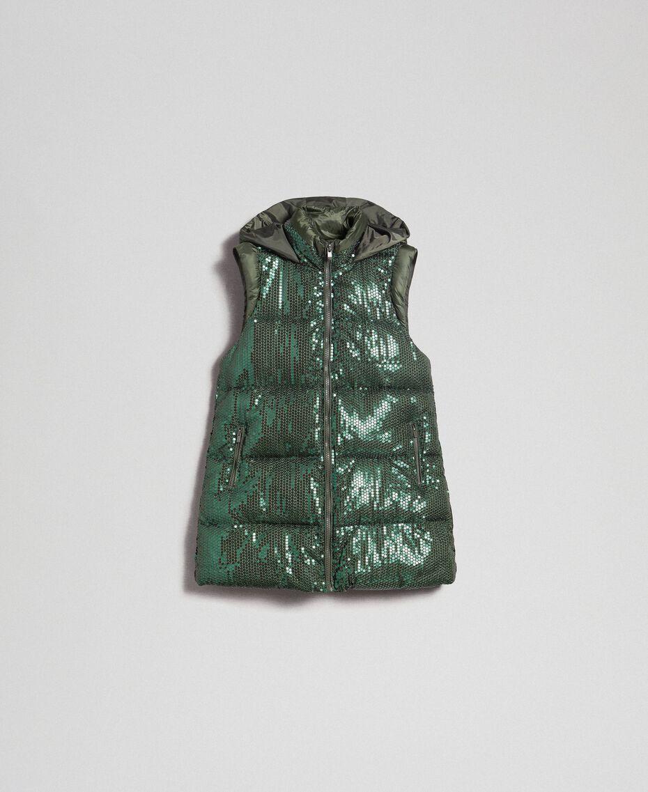 Gilet rembourré avec broderie de sequins Vert «Forêt» Femme 192ST2051-0S