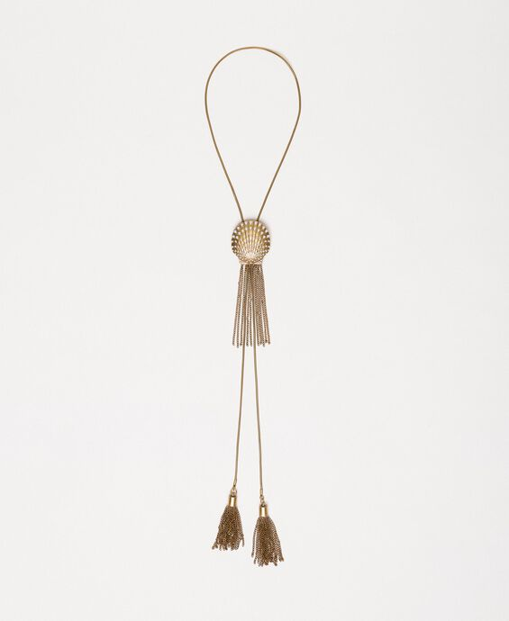 Adjustable necklace with shell and fringes