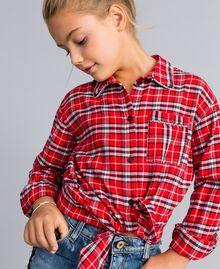 Maxihemd aus Jacquard mit Karomuster Jacquard-Karomuster Mohnrot Kind GA824N-0S