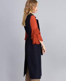 Lange Weste aus Tuch Nachtblau Frau TA821F-03