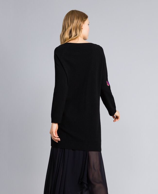 Embroidered wool blend dress Black Needle Punched Embroidery Woman TA83JA-03