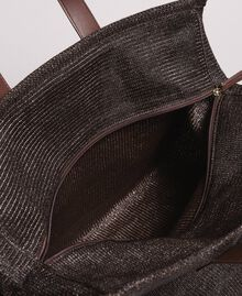 Oversized straw-effect shopping bag Dark Brown Woman 191LM4ZCC-05