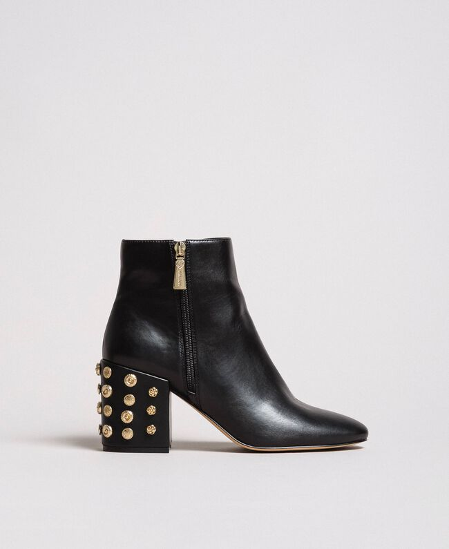Faux leather ankle boots with jewelry heels Black Woman 191MCP046-03