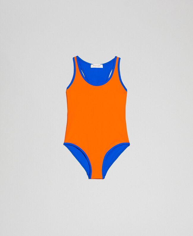 Badeanzug Neonorange / Neonblau Kind 191TQM026-01