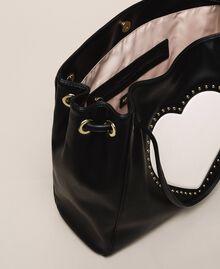 "Hobo bag with studs and heart Black / ""Vanilla"" White Woman 201MA7093-05"