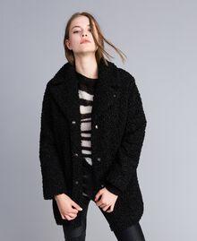 Manteau en faux agneau Noir Femme JA82KN-02