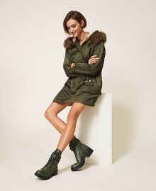 Combat boots with lettering logo Dark Olive Green Woman 202TCP03G-0S