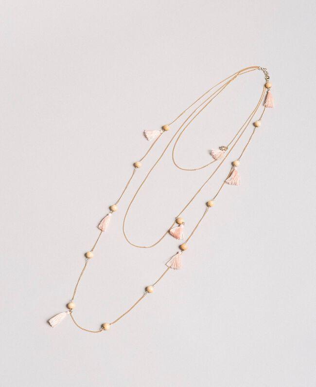 Collier à chaînes multiples orné de pompons Perle Rose Femme 191TA431K-01