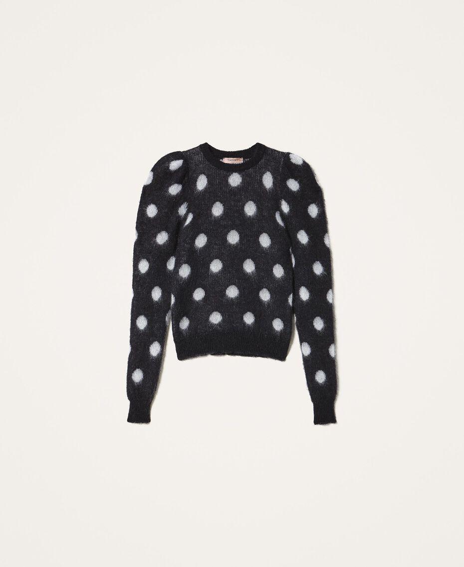 Polka dot jacquard jumper Two-tone Black / Snow White Jacquard Woman 202TT3221-0S