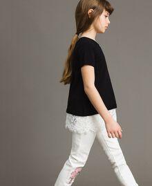 Pullover aus Baumwolle und Spitzen-Top Zweifarbig Schwarz / Off White Kind 191GJ3020-03