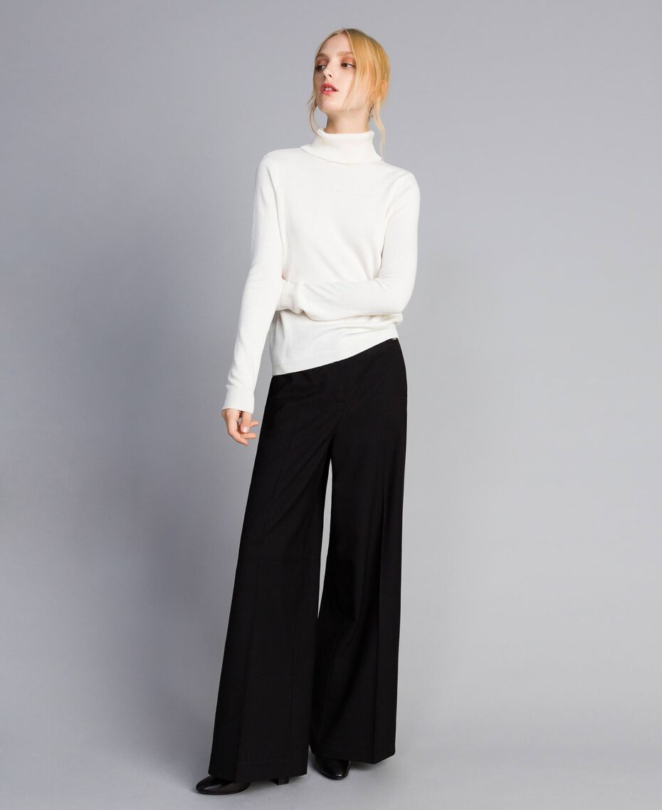 Twill palazzo trousers Black Woman SA82KE-01