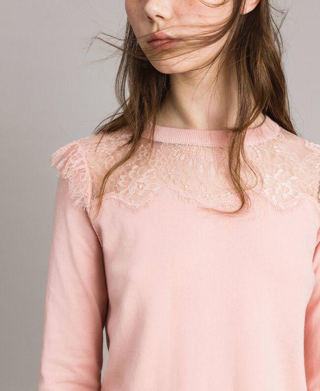 Pull avec détails en dentelle Perle Rose Femme 191TP3031-04