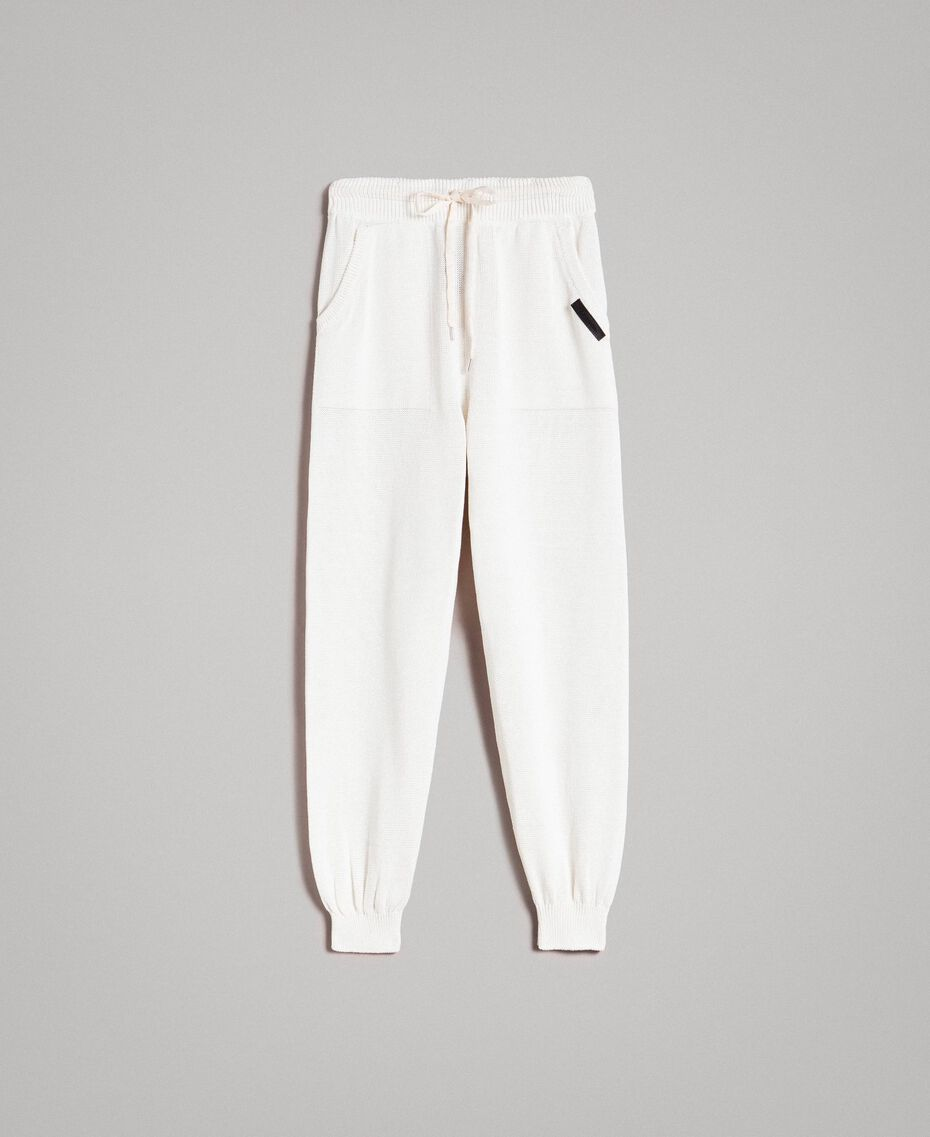 Cotton-blend jogging trousers Matte White Man 191UT3083-0S