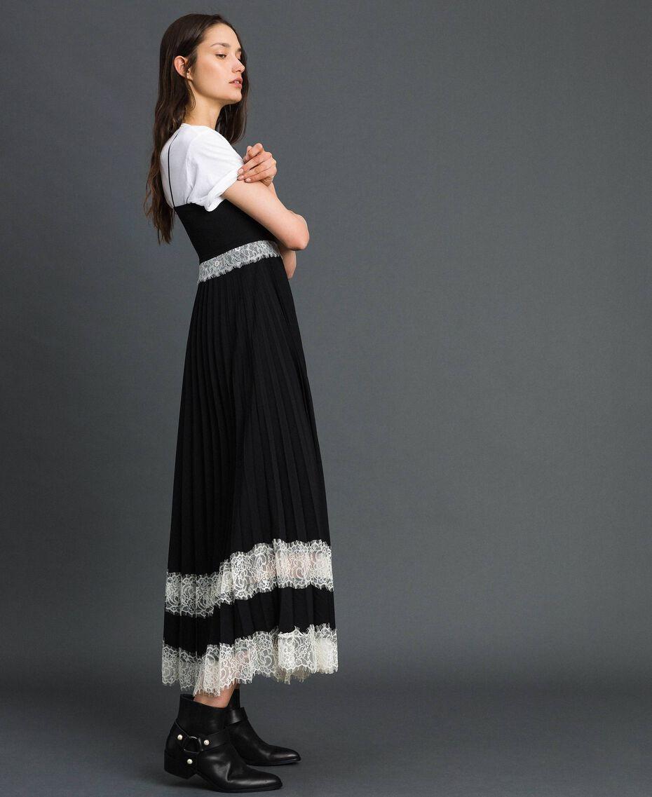 Robe nuisette avec dentelle Bicolore Noir / Blanc Neige Femme 192TP2282-02