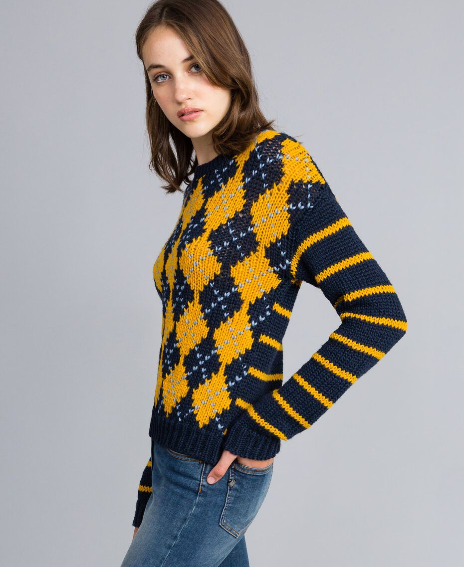 "Jumper with diamond pattern and stripes Multicolour Night Blue / ""Golden Yellow"" / Denim Blue Woman YA83L2-02"