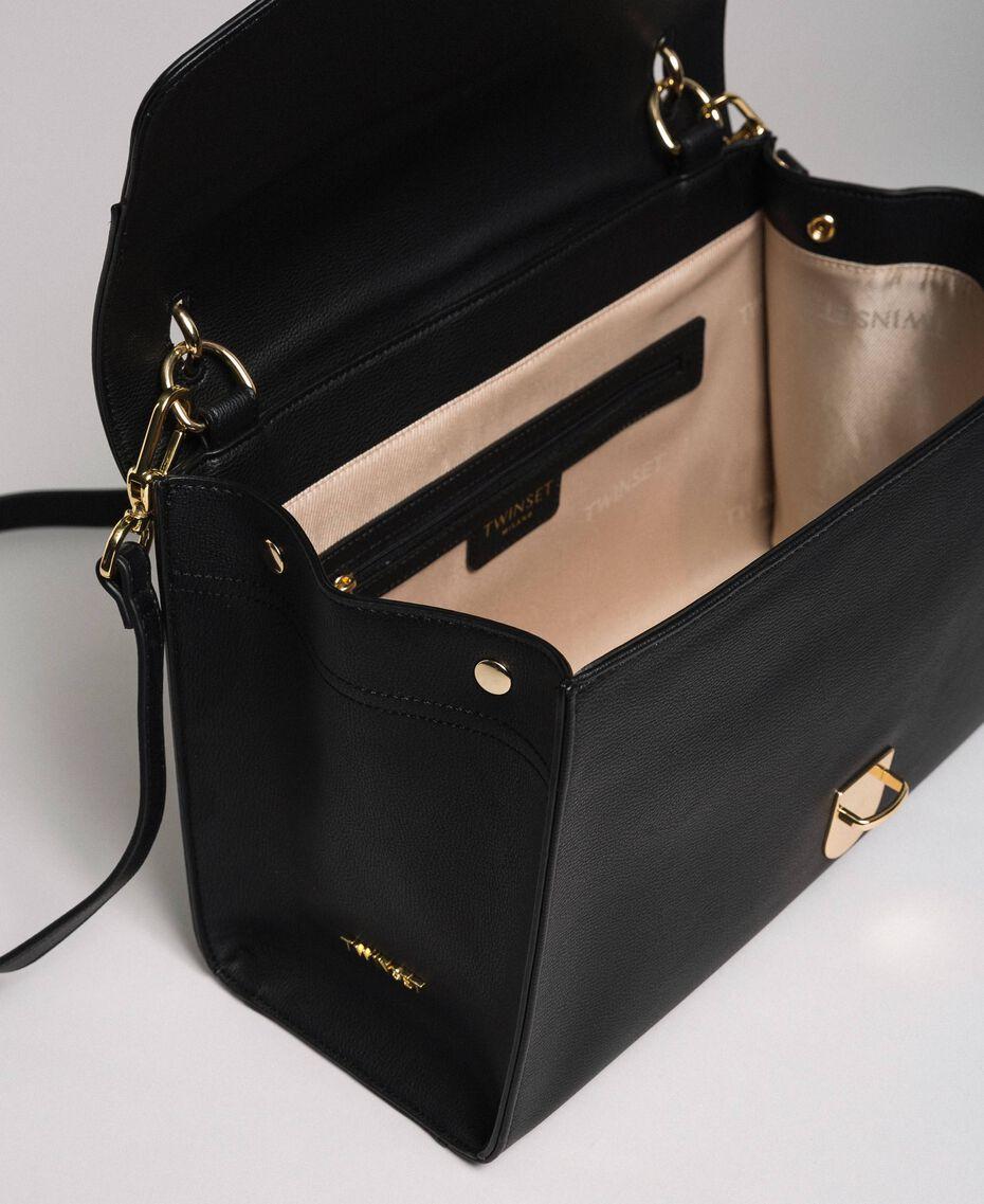 Faux leather satchel bag with flap Black Woman 192TA7130-05
