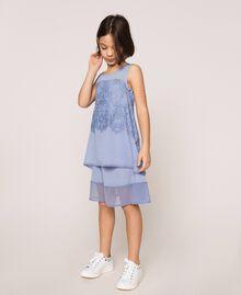 "Crêpe de Chine and lace dress ""Ice"" Dark Blue Child 201GJ2Q30-01"