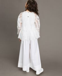 Poplin jumpsuit and organza blouse White Child 191GJ2QB0-03