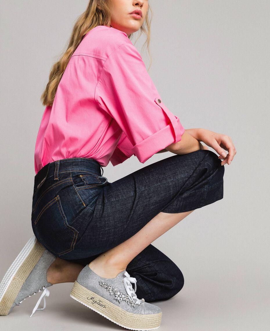 Weite Dreiviertel-Jeans Denimblau Frau 191MP2470-02