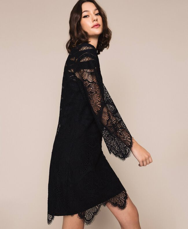 Macramé lace dress Black Woman 201TP2030-01