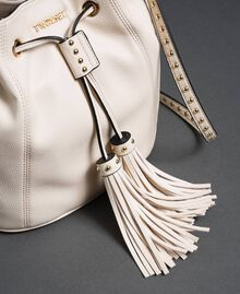 Faux leather bucket bag with studs White Snow Woman 192TO8163-03